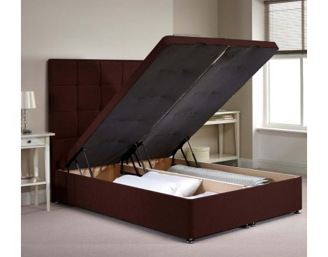 Appian Ottoman Divan Bed Frame - Chocolate Chenille Fabric - Small Double - 4ft 0