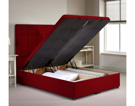 Appian Ottoman Divan Bed Frame - Raspberry Chenille Fabric - Small Single - 2ft 6