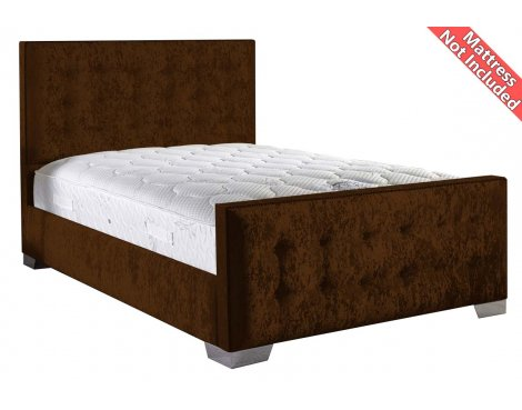 ValuFurniture Delaware Velvet Fabric Bed Frame - Truffle - Double - 4ft 6