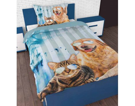 Sleep Time Cool Pets Duvet Cover Set For Kids - Multicoloured - Single 3ft