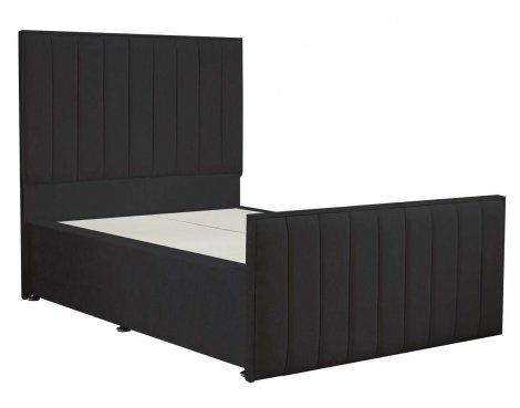 Luxan Hampstead Dun Colours Bed Frame - Charcoal - Double 4ft6 - 2 Drawers