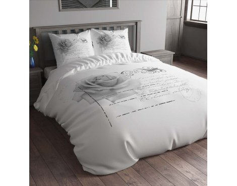 Sleep Time Stamp Rose Duvet Cover Set - White - Single 3ft