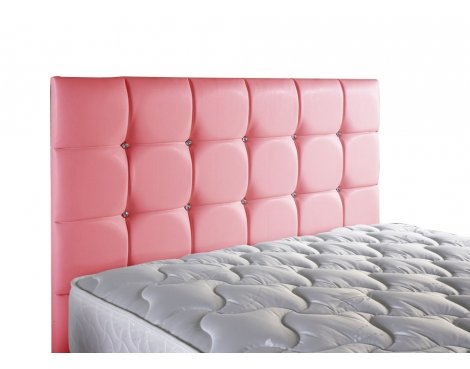 ValuFurniture Diamond Leather Headboard - Pink - Small Double 4ft