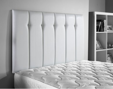 B GRADE/Box slightly damaged ValuFurniture Jubilee Leather Headboard - White - Single 3ft