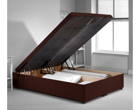 Richworth Ottoman Divan Bed Frame - Chocolate Chenille Fabric - Single - 3ft