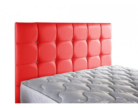ValuFurniture Diamond Leather Headboard - Red - Single 3ft