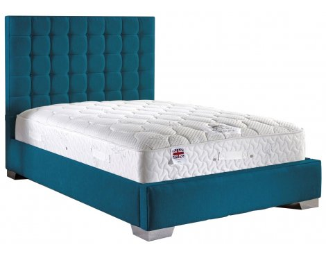 ValuFurniture Coppella Fabric Divan Bed & Mattress Set - Teal - Double - 4ft 6