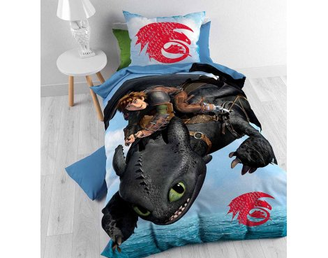 Disney How to Train your Dragon Duvet Cover Set For Kids - Multicoloured - Single 3ft