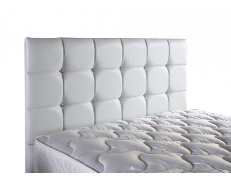 ValuFurniture Diamond Leather Headboard - White - Small Double 4ft