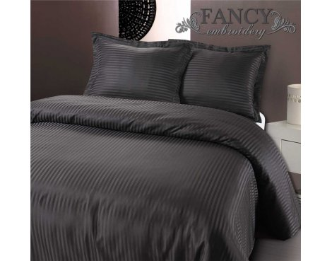 Fancy Embroidery Dallas Duvet Cover Set - Anthracite - Single 3ft