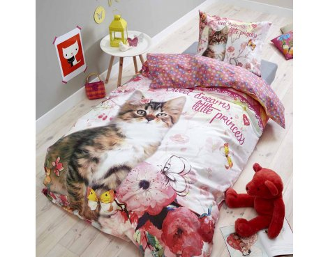 Dreamhouse Princess Kitty Duvet Cover Set For Kids - Multicoloured - Single 3ft