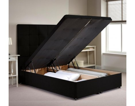 Appian Ottoman Divan Bed Frame - Black Chenille Fabric - Small Single - 2ft 6