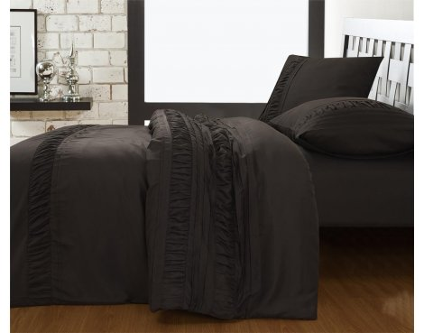 Fancy Embroidery Miami Duvet Cover Set - Anthracite - Double 4ft6