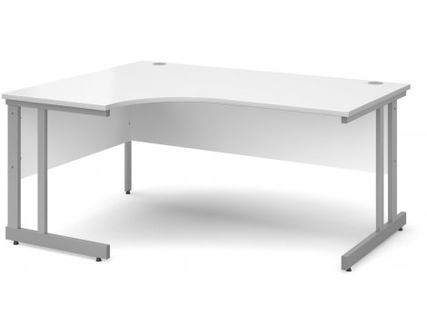 DSK Momento 1600mm Left Hand Ergonomic Desk - White