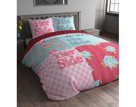 Sleep Time Flower Sides Duvet Cover Set - Multi Coloured - Double 4ft6