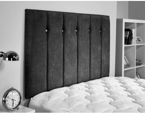 ValuFurniture Jubilee Chenille Fabric Headboard - Black - Super King 6ft