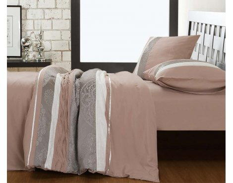 Fancy Embroidery Dynamo Duvet Cover Set - Taupe - Single 3ft