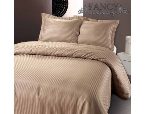 Fancy Embroidery Dallas Duvet Cover Set - Taupe - Double 4ft6