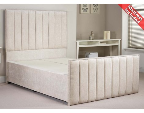 Luxan Hampstead Light Colours Bed Set - Cream - Small Double 4ft - 2 Drawers