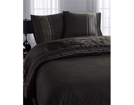 Fancy Embroidery Luxury Barok Duvet Cover Set - Anthracite - Double 4ft6