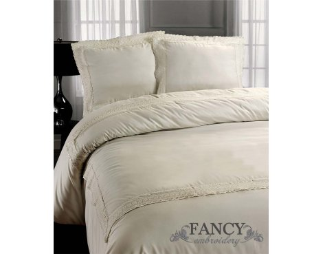 Fancy Embroidery Rome Duvet Cover Set - Cream - Double 4ft6