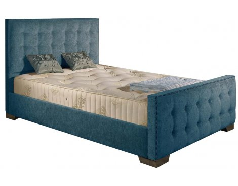 ValuFurniture Delaware Chenille Fabric Divan Bed Frame - Teal - Small Double - 4ft