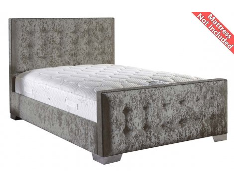 ValuFurniture Delaware Velvet Fabric Bed Frame - Silver - Small Single - 2ft 6