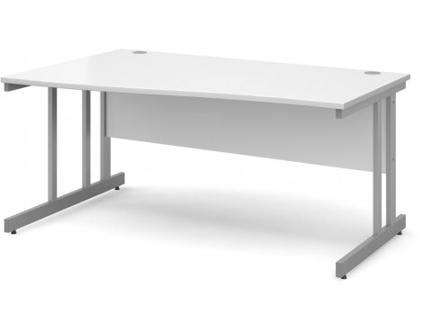 DSK Momento 1600mm Left Hand Wave Desk - White