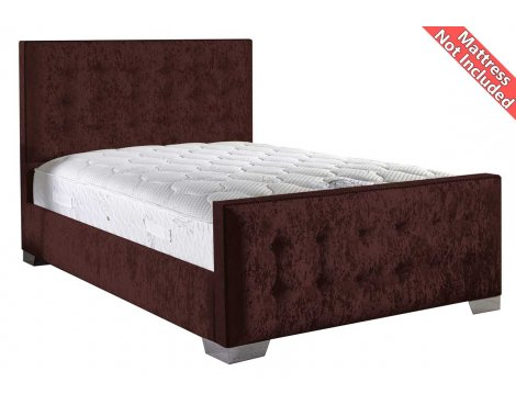 ValuFurniture Delaware Velvet Fabric Bed Frame - Mulberry - Small Double - 4ft