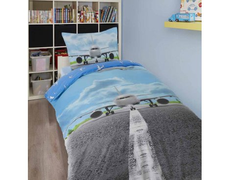 Dreamhouse Airplane Runway Duvet Cover Set For Kids - Multicoloured - Single 3ft