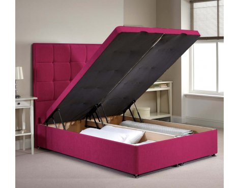 Appian Ottoman Divan Bed Frame - Pink Chenille Fabric - Small Single - 2ft 6