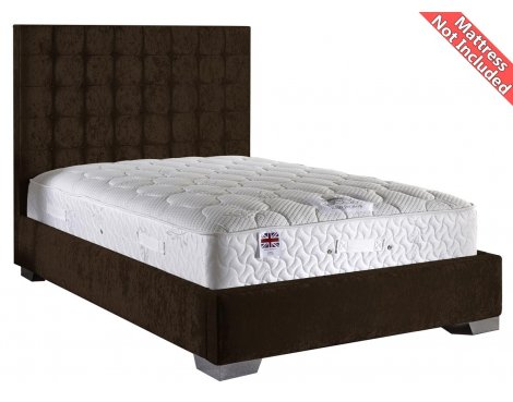 ValuFurniture Coppella Velvet Fabric Divan Bed Frame - Chocolate -Double - 4ft 6