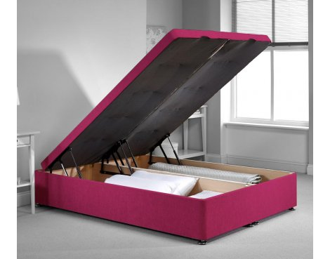 Richworth Ottoman Divan Bed Frame - Pink Chenille Fabric - Double - 4ft6