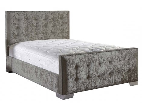 ValuFurniture Delaware Velvet Fabric Bed Set - Silver - Small Double - 4ft