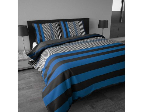 Sleep Time Bond Stripe Duvet Cover Set - Blue - King 5ft