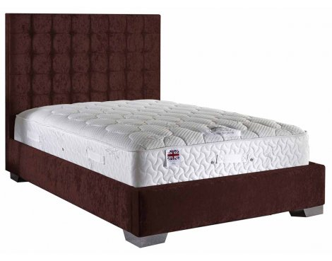 ValuFurniture Coppella Velvet Fabric Divan Bed Set - Mulberry  - Single - 3ft