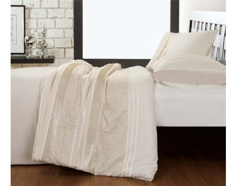 Fancy Embroidery Chilli Duvet Cover Set - Cream - Single 3ft