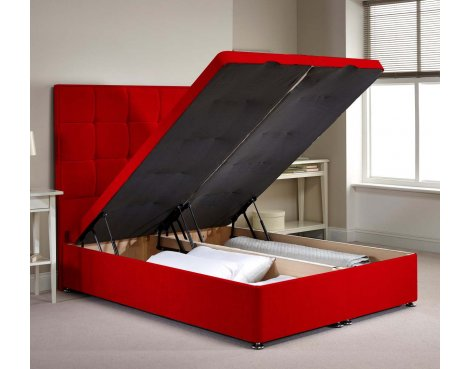 Appian Ottoman Divan Bed Frame - Red Chenille Fabric - Super King - 6ft 0