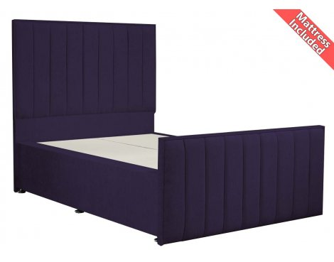 Luxan Hampstead Dun Colours Bed Set - Purple - Small Double 4ft - 2 Drawers