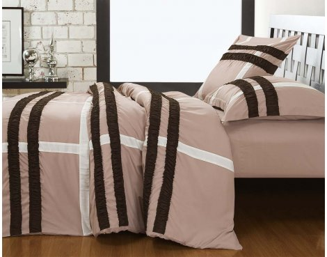 Fancy Embroidery Bradford Duvet Cover Set - Taupe - Single 3ft