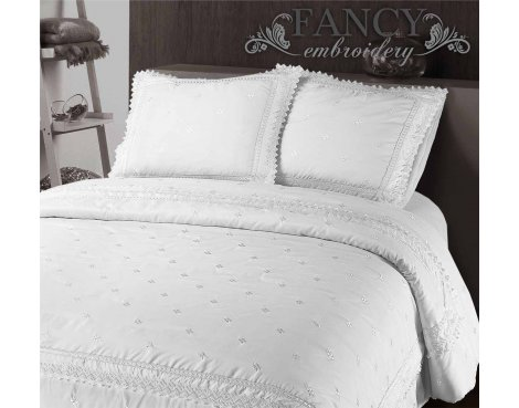 Fancy Embroidery RL 12 White Duvet Cover Set - White - King 5ft