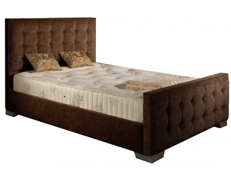 ValuFurniture Delaware Chenille Fabric Divan Bed Set - Chocolate - Small Double - 4ft