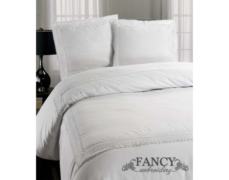 Fancy Embroidery Rome Duvet Cover Set - White - Double 4ft6