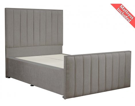 Luxan Hampstead Light Colours Bed Set - Silver - Double 4ft6 - 2 Drawers