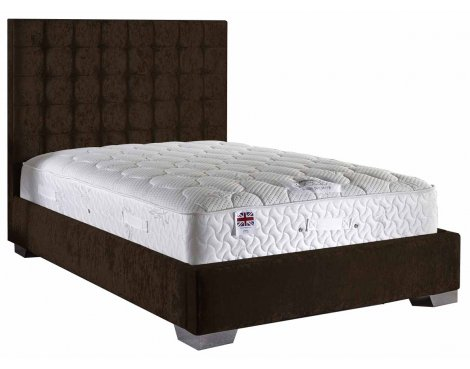 ValuFurniture Coppella Velvet Fabric Divan Bed Set - Chocolate - Small Double - 4ft