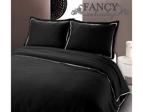 Fancy Embroidery Messina Black Duvet Cover Set - Black - Double 4ft6