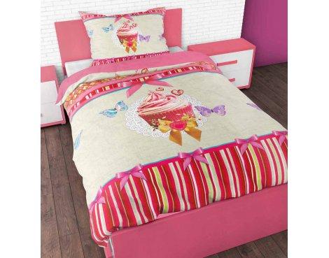 Sleep Time Cupcake Love Duvet Cover Set For Kids - Multicoloured - Single 3ft
