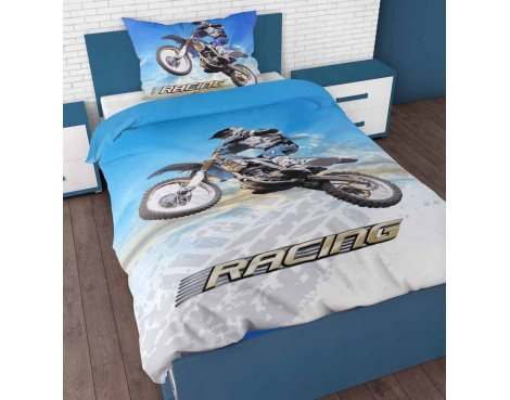 Sleep Time Racing Motorbike Duvet Cover Set For Kids - Multicoloured - Single 3ft
