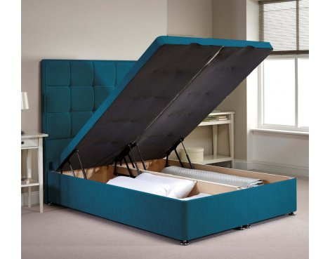Appian Ottoman Divan Bed Frame - Teal Chenille Fabric - Double - 4ft 6