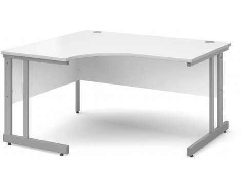 DSK Momento 1400mm Left Hand Ergonomic Desk - White